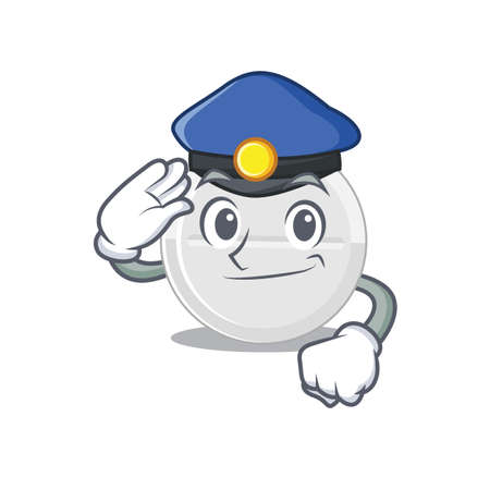 A handsome Police officer cartoon picture of tablet drug with a blue hat