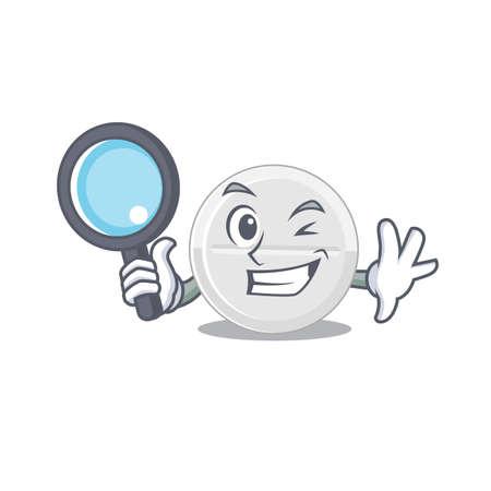 cartoon mascot design of tablet drug super Detective breaking the case using tools