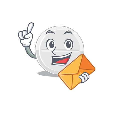 A picture of cheerful tablet drug caricature design concept having an envelope Vector Illustration