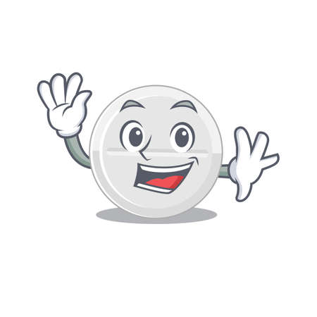 A charismatic tablet drug mascot design concept smiling and waving hand