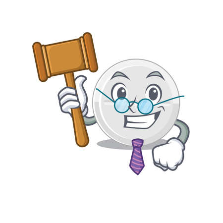 A judicious judge of tablet drug caricature concept wearing glasses
