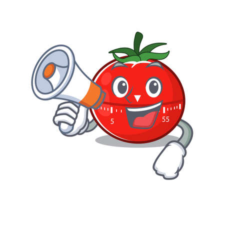 Tomato kitchen timer carton picture style giving announcement on a megaphone