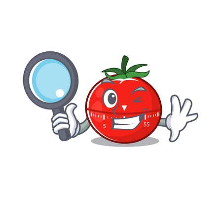 cartoon mascot design of tomato kitchen timer super Detective breaking the case using tools