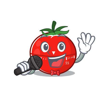 caricature character of tomato kitchen timer happy singing with a microphone