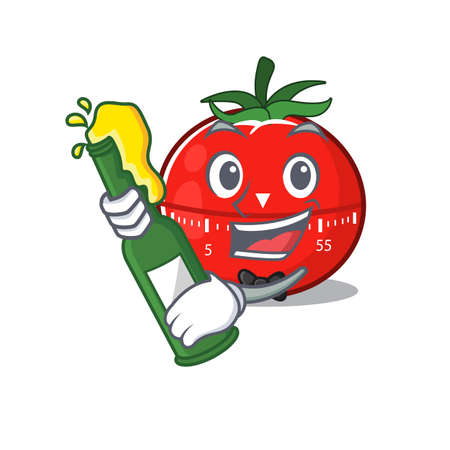 A caricature design style of tomato kitchen timer cheers with a bottle of wine