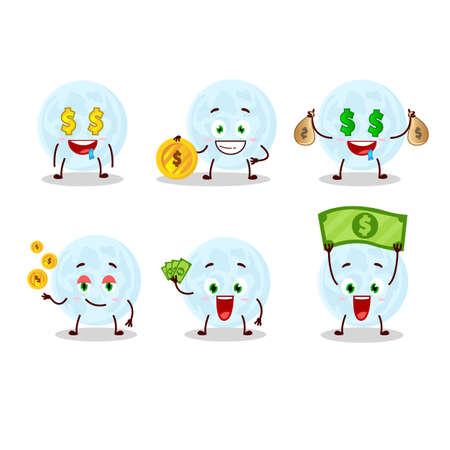Blue moon cartoon character with cute emoticon bring money Ilustracja