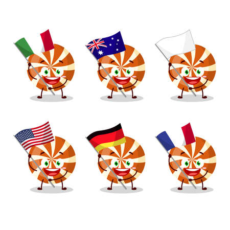 Spiral candy cartoon character bring the flags of various countries