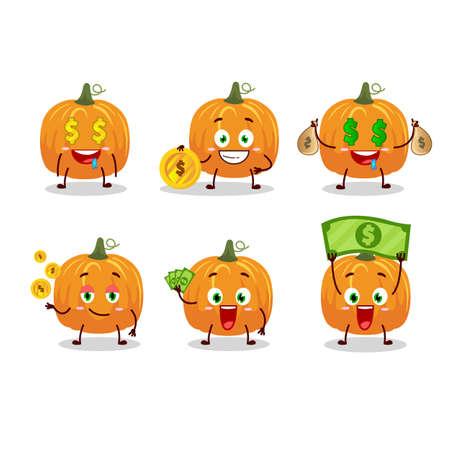 Pumpkin cartoon character with cute emoticon bring money Ilustracja