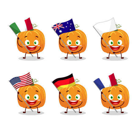 Pumpkin cartoon character bring the flags of various countries