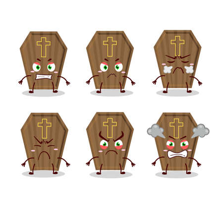 Coffin cartoon character with various angry expressions Illustration