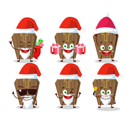Santa Claus emoticons with coffin cartoon character