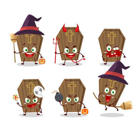 Halloween expression emoticons with cartoon character of coffin