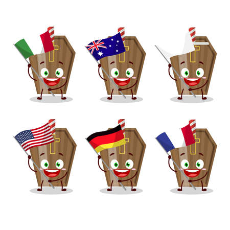 Coffin cartoon character bring the flags of various countries