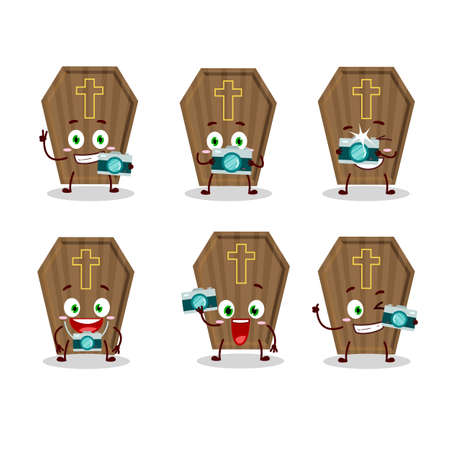 Photographer profession emoticon with coffin cartoon character Illustration