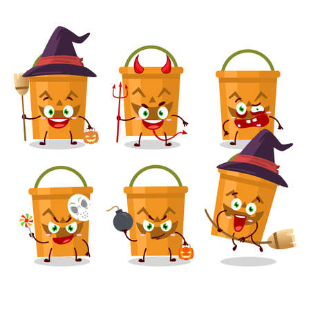 Halloween expression emoticons with cartoon character of halloween bucket