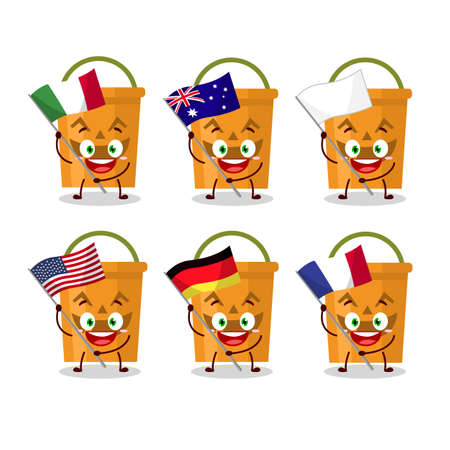 Halloween bucket cartoon character bring the flags of various countries