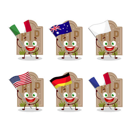 Tombstone cartoon character bring the flags of various countries