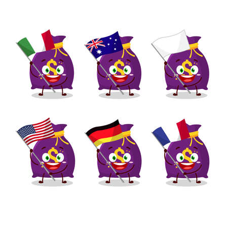 Magic money sack cartoon character bring the flags of various countries