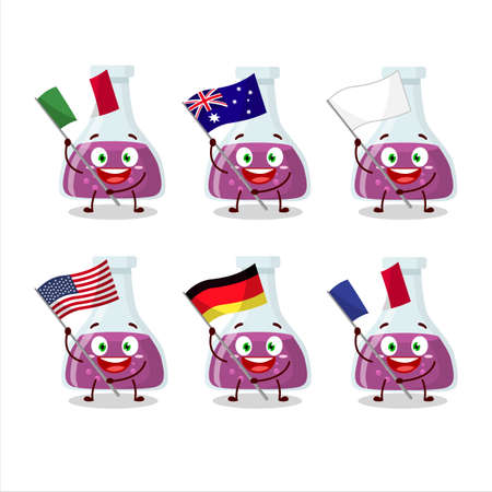 Purple potion cartoon character bring the flags of various countries