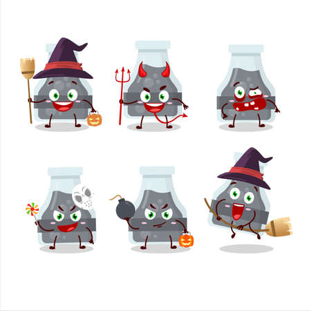 Halloween expression emoticons with cartoon character of black potion Illusztráció