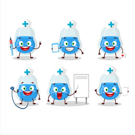 Doctor profession emoticon with blue potion cartoon character