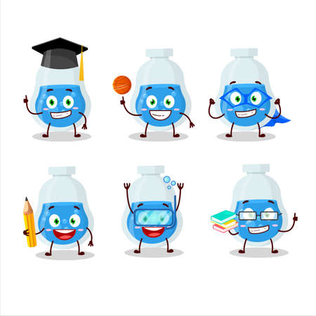 School student of blue potion cartoon character with various expressions
