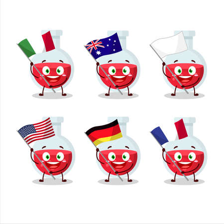 Red potion cartoon character bring the flags of various countries