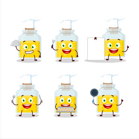 Cartoon character of yellow potion with various chef emoticons