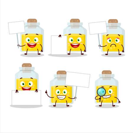 Yellow potion cartoon character bring information board