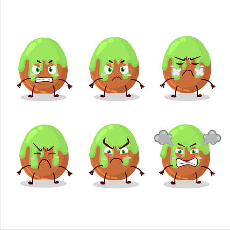 Choco green candy cartoon character with various angry expressions