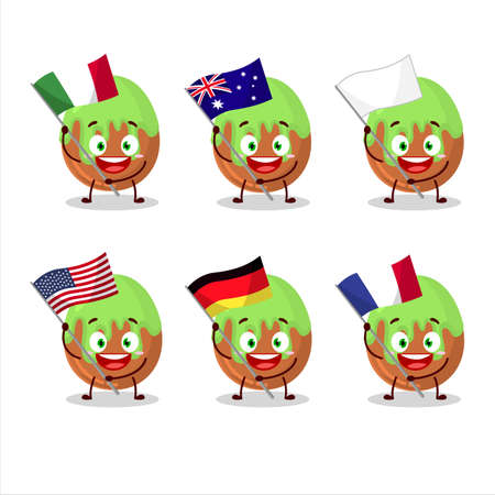 Choco green candy cartoon character bring the flags of various countries