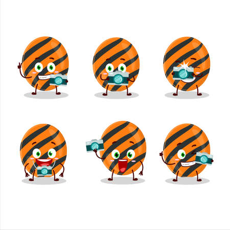Photographer profession emoticon with halloween stripes candy cartoon character