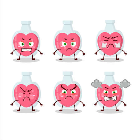 Love potion cartoon character with various angry expressions