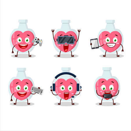 Love potion cartoon character are playing games with various cute emoticons