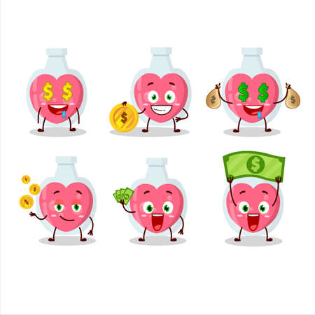 Love potion cartoon character with cute emoticon bring money