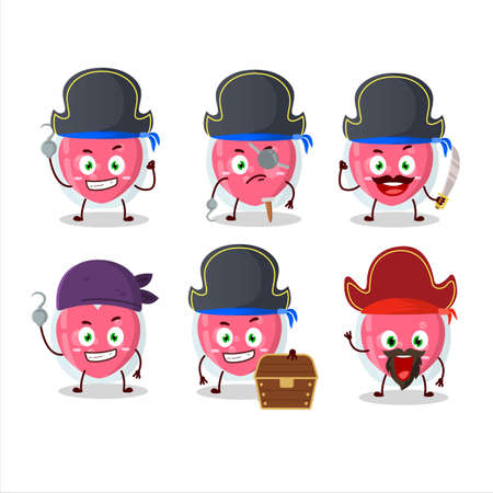 Cartoon character of love potion with various pirates emoticons