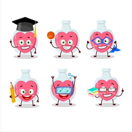 School student of love potion cartoon character with various expressions