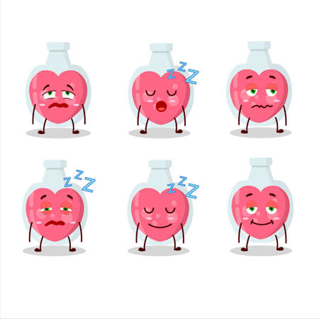 Cartoon character of love potion with sleepy expression
