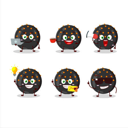 Halloween black candy cartoon character with various types of business emoticons