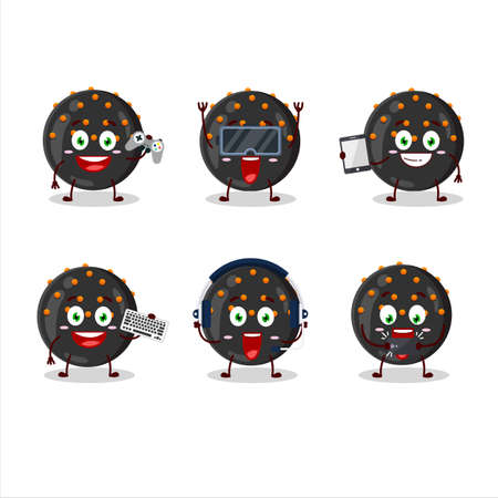 Halloween black candy cartoon character are playing games with various cute emoticons