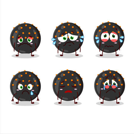 Halloween black candy cartoon character with sad expression