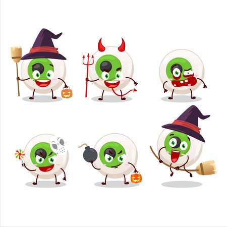 Halloween expression emoticons with cartoon character of eye candy
