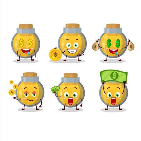 Golden potion cartoon character with cute emoticon bring money Stock Illustratie
