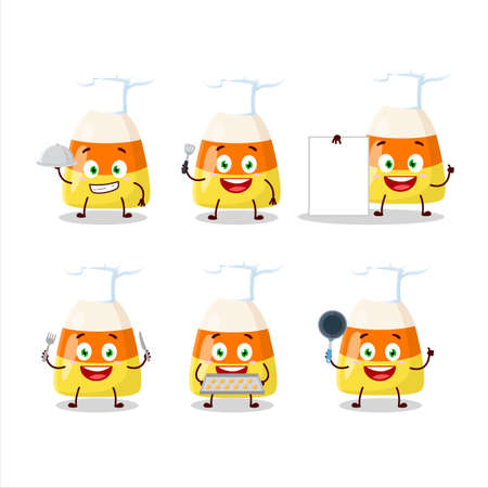 Cartoon character of candy corn with various chef emoticons 向量圖像
