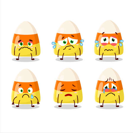 Candy corn cartoon character with sad expression 向量圖像