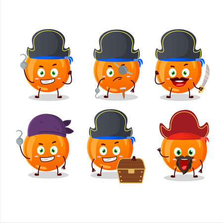 Cartoon character of halloween orange candy with various pirates emoticons