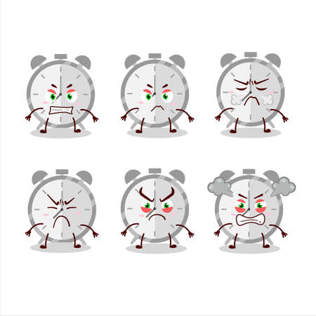 Alarm clock cartoon character with various angry expressions