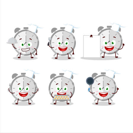 Cartoon character of alarm clock with various chef emoticons