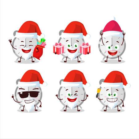 Santa Claus emoticons with alarm clock cartoon character. Vector illustration Illustration