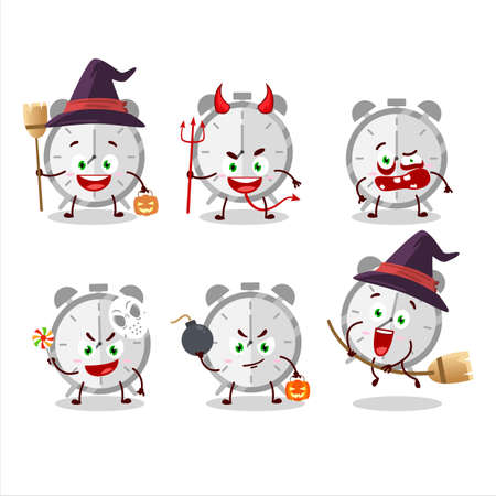 Halloween expression emoticons with cartoon character of alarm clock